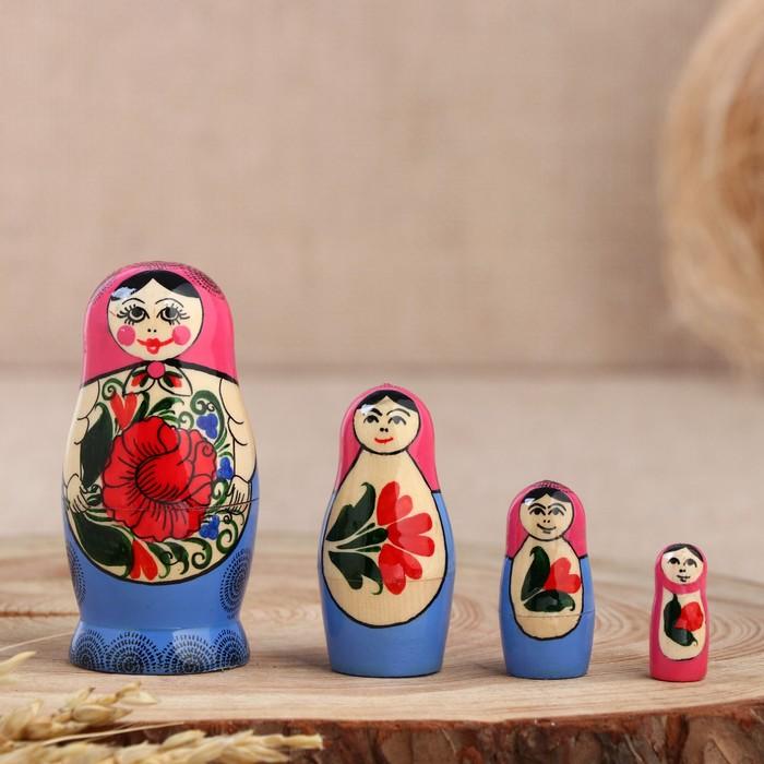 Матрёшка Семёновская, розовый платок, 4 кукольная, 9 см, ручная работа