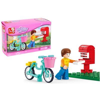 Конструктор «Розовая мечта: курьер на велосипеде», 29 деталей - Фото 1