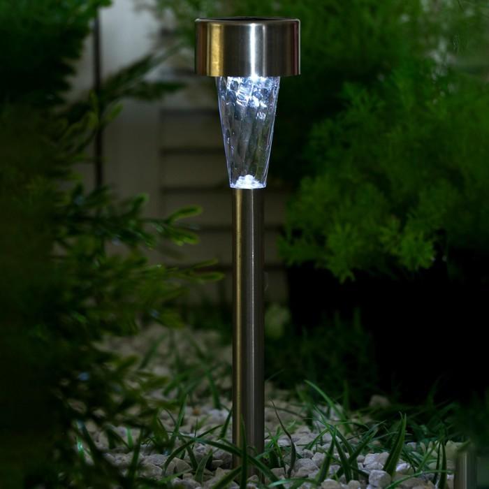 """Фонарь садовый на солнечной батарее """"Трапеция"""" 38 см, d - 5,3 см, 1 led, металл"""