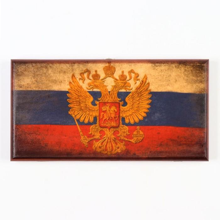 Нарды Россия, деревянная доска 40х40 см, с полем для игры в шашки