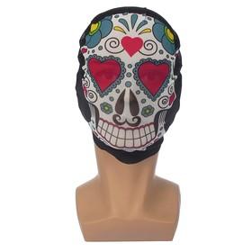 Карнавальная маска текстиль 'Череп с сердечками' Ош