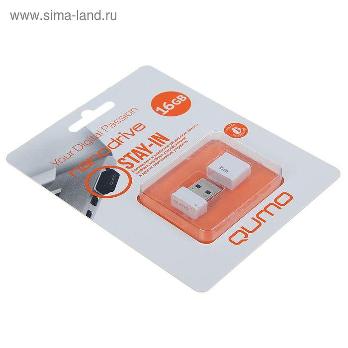 Флешка USB2.0 Qumo Nano White, 16 Гб, чт до 25 Мб/с, зап до 15 Мб/с, белая