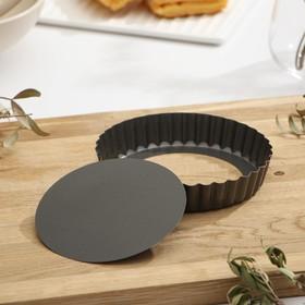 Форма для выпечки «Жаклин.Рифлёный круг», 13,5 см, съёмное дно, антипригарное покрытие, цвет чёрный
