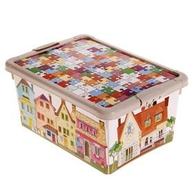 Ящик для игрушек с аппликацией и крышкой, 8,4 л, цвет бежевый