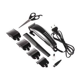Машинка для стрижки волос LuazON LST-12, 15 Вт, 4 насадки, серебристо-чёрная Ош