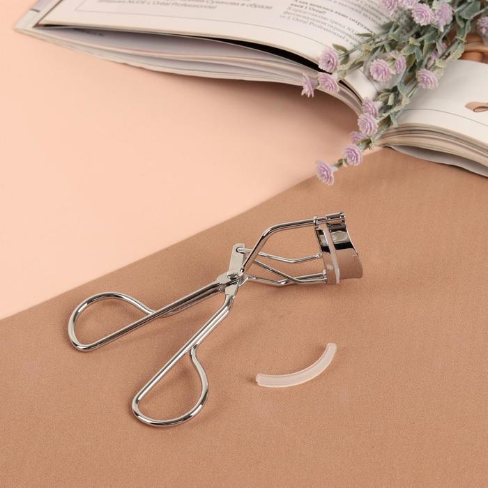 Щипцы для завивки ресниц, со сменной резинкой, цвет серебристый, EYE-100-SP