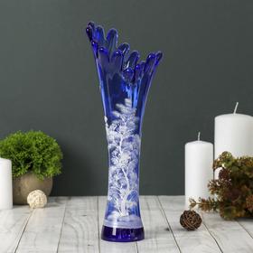 "Ваза ""Коралл"", дерево, синяя, ручная роспись"