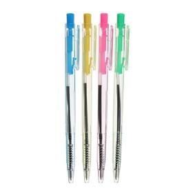 Ручка шариковая, автоматическая, тонированный прозрачный корпус, МИКС