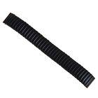 Ремешок для часов 18 мм, металл, протектор звенья объёмные, чёрный хром, 15.5 см
