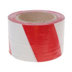 Лента оградительная, красно-белая, ширина 7,5 см, 100 м Ош