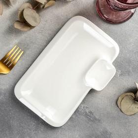 Блюдо прямоугольное Wilmax Teona с соусником, 20×12 см