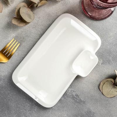 Блюдо прямоугольное Wilmax Teona с соусником, 20×12 см - Фото 1