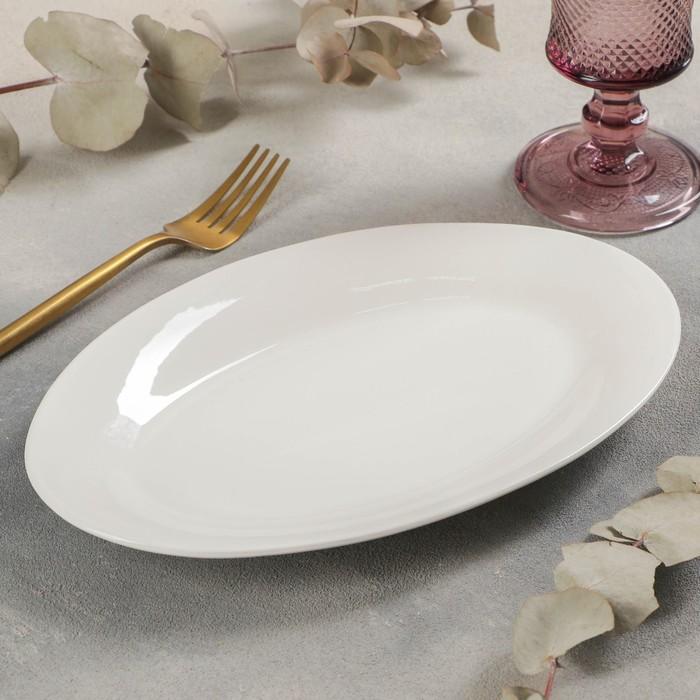 Блюдо овальное White Label, 25,5×17×2 см, с утолщённым краем, цвет белый