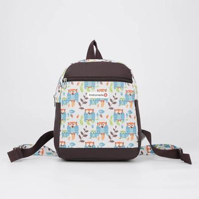 Рюкзак молодёжный, отдел на молнии, наружный карман, цвет коричневый/белый - Фото 1