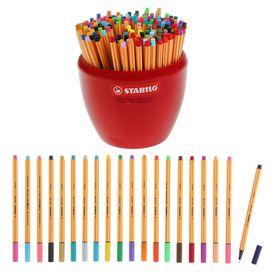 Ручка капиллярная STABILO Point 88, 0,4 мм, чернила микс 47 цветов, керамический горшок Ош