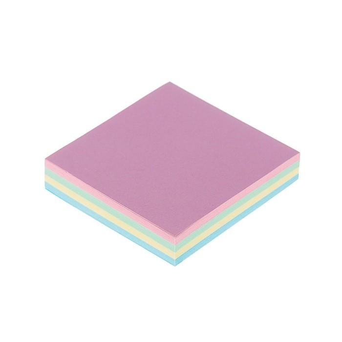Блок с липким краем Calligrata, 51 х 51 мм, 100 листов, 4 цвета, пастель, МИКС
