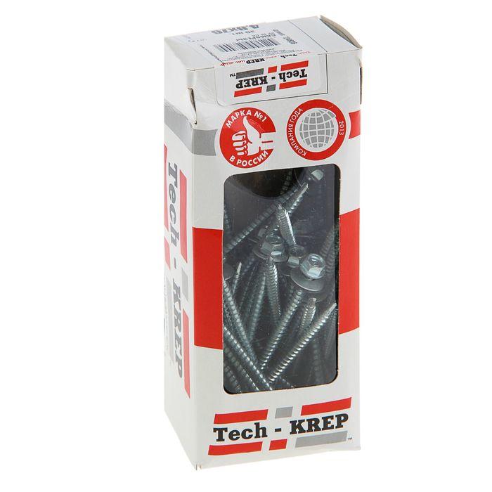 Саморезы кровельные TECH-KREP, 4.8х76 мм, сверло, цинк, с шайбой, 30 шт.