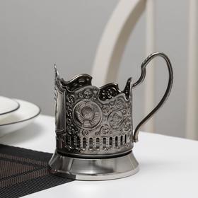"""Подстаканник никелированный с чернью """"Олимпийский мишка"""", 2 герба, (стакан d=6,1 см)"""