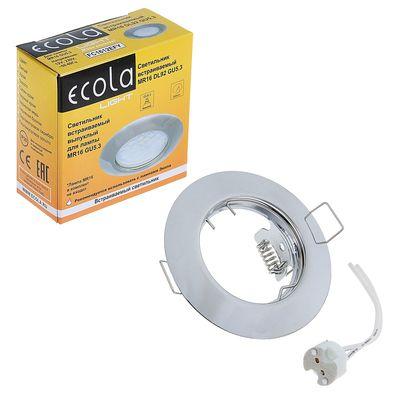 Светильник встраиваемый Ecola, DL92, MR16, GU5.3, выпуклый, 30x80 мм, цвет хром