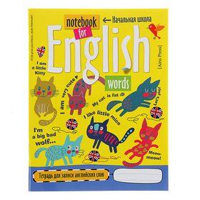 Тетрадь для записи английских слов в начальной школе «Кошки», 32 листа, обложка мелованный картон