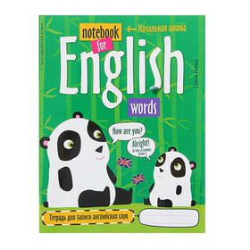 Тетрадь для записи английских слов в начальной школе «Панда», 24 листа, обложка мелованный картон