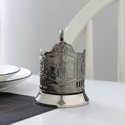 Подстаканник «Спасская башня», стакан d=6,1 см, никелированный, с чернением - Фото 1