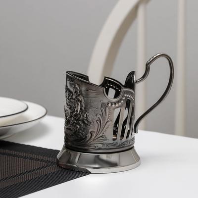 Подстаканник «Охотник», стакан d=6,1 см, никелированный, с чернением - Фото 1