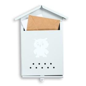 Ящик почтовый без замка (с петлёй), вертикальный, «Домик», серый Ош