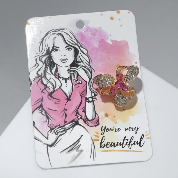"""Брошь """"Бант"""" с камнем, цвет бело-розовый в золоте"""