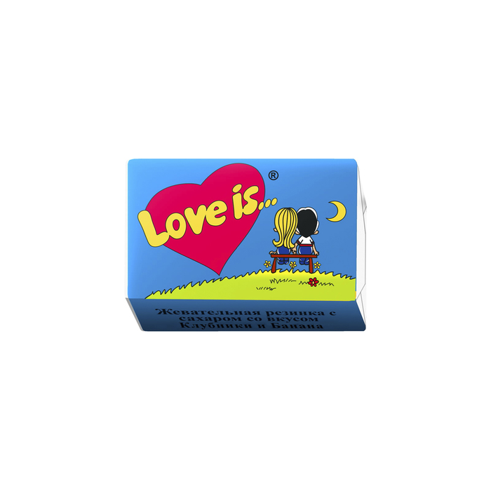 Жевательная резинка Love is, Банан и клубника, 4,2г.