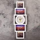 "Часы настенные, серия: Фото, ""Пирамида"", 4 фоторамки,(10х10, 10х15) белые, 20х60 см, микс"