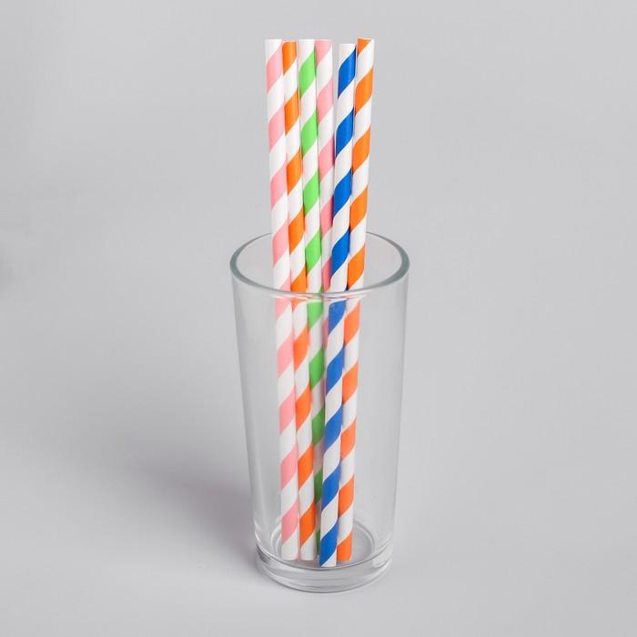 Трубочка для коктейля Спиралька, набор 6 шт., цвета МИКС