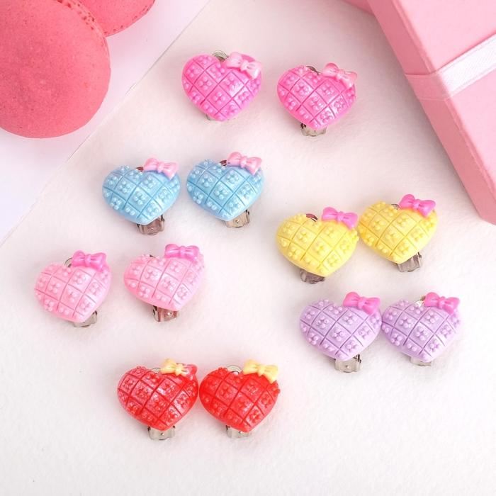 Клипсы детские Выбражулька сердечко с цветочком, цвет МИКС
