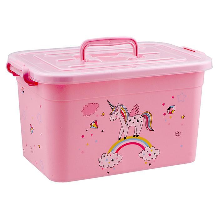 Ящик для игрушек Радуга с крышкой и ручками, 6,5 л, МИКС