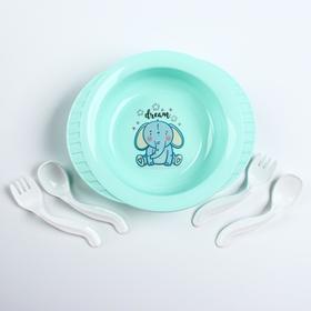 Набор детской посуды: тарелка на присоске, 500 мл, ложка, 2 шт., вилка, 2 шт., цвета МИКС