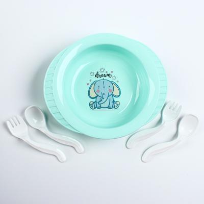 Набор детской посуды: тарелка на присоске, 500 мл, ложка, 2 шт., вилка, 2 шт., цвета МИКС - Фото 1