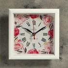 """Часы настенные, серия: Цветы, """"Пионы"""", белая рамка, 20х20 см"""