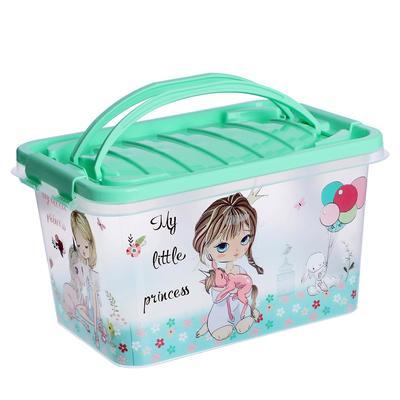 Ящик для игрушек «Принцесса» с ручкой и крышкой, 7 л