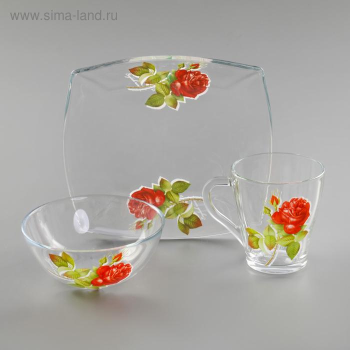"""Набор для завтрака """"Алая роза"""", 3 предмета: тарелка 19,5х19,5 см, салатник 13 см, кружка 250 мл"""
