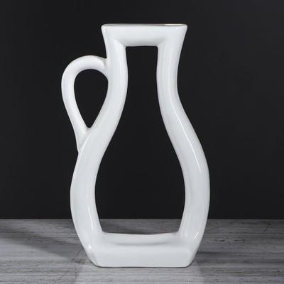 "Ваза ""Арт-хаус кувшин"", белый цвет, 32 см, керамика"