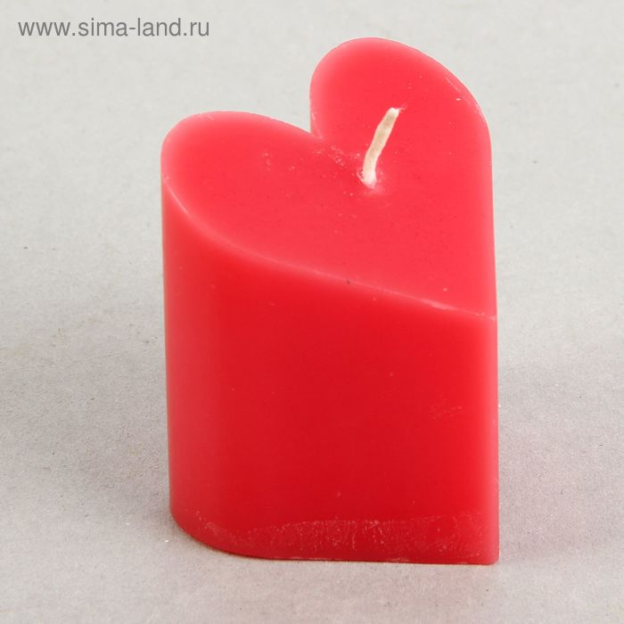 """Свеча-пирамида """"Сердце"""" 6,8 х 7,5 см, цвет красный"""