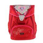 Ранец на замке с кулиской Proff, 36.5 х 29 х 18.5 см, для девочки, Hearts, красный