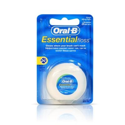 Нить зубная Oral-B Essential мятная, вощеная, 50 м