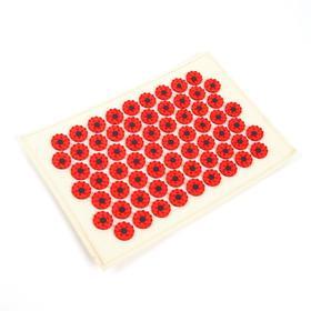 Массажёр-аппликатор «Тибетский», на мягкой подложке, с магнитами, для интенсивного воздействия, 17 × 28 см, цвет красный