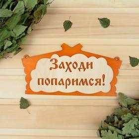 Табличка для бани 'Заходи, попаримся' в виде избы 29х15см Ош