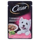 Влажный корм Cesar для собак, говядина/кролик/шпинат, пауч, 85 г