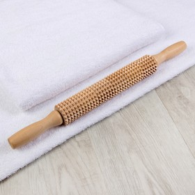 Массажёр «Скалка» для спины, деревянный, с шипами