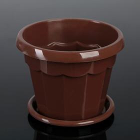 Горшок для цветов с поддоном Доляна «Эрика», 0,7 л, цвет коричневый