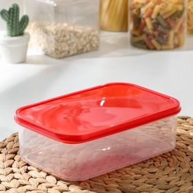 Контейнер прямоугольный Доляна, пищевой, 1,2 л, цвет красный