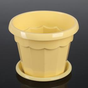Горшок для цветов с поддоном Доляна «Эрика», 0,7 л, цвет жёлтый